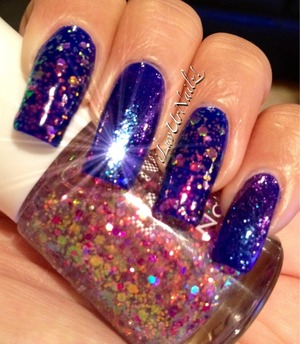 The colors I used are Revlons Royal and for my ring and pointer finger nails I used Nabi Purple Jumbo Glitter, on my pinky and Middle finger nails I used CND effects Sapphire sparkle