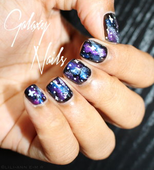 "First attempt at doing galaxy nails ! Wanna know how to achieve this simple mani ? Take a looks on my website http://www.monsieurlili.com ( in ""Womanity"" )"