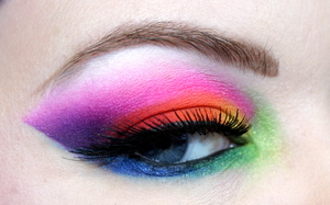 Open eye close up of the makeup from my Midnight Rainbow tutorial