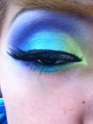 This look was specially for an EDM festival i went to over the summer :] blues, greens, purples.