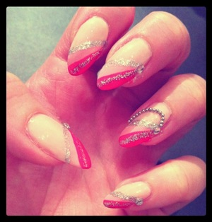 This is an easy diagonal french tip design with different shades of pink. It would look great with any other color:)