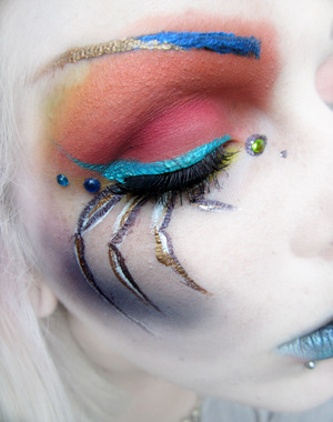 This is a look inspired by a colourful, jumping spider, as a contest entry for makeupbee.