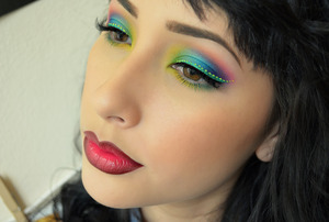 used my sugarpill pro palette to create this look along with wet n wild teal liquid liner and created the dots with lime crime liquid liner in citreuse. On the lips I have on melt cosmetics lipstick in 6six6 and in the middle I used occ lip tar in anime! Celebrating fall drag queen style ;)
