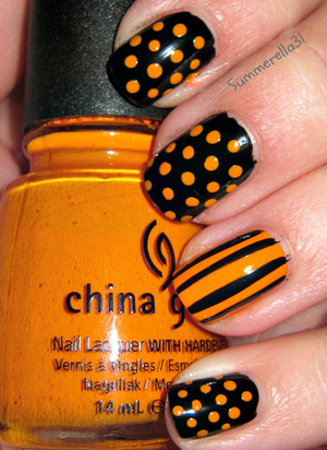 China Glaze Papaya Punch and Wet N Wild Black Creme