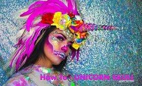 How To : UNICORN SKULL Halloween makeup look
