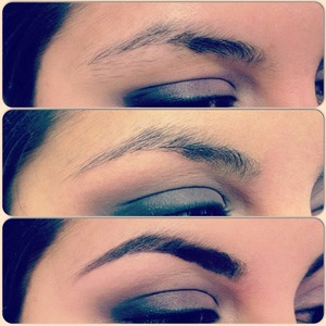 I trimmed and waxed her brows, then filled them in, using brow powder and an angled brush.