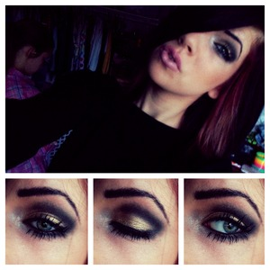 Gold and black eyeshadow from urban decay 2! Ombré pink lips.