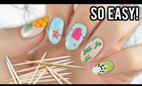 Nail Art For Beginners Using A TOOTHPICK! (Summer Edition)