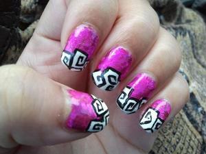 Pink Nail Foil w/ acrylic black and white nail design