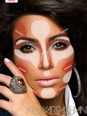 I love to contour! But after two months of practicing, I didn't notice my technique getting any better. I found an article with this photo that explained how Kim contours her face. I tried this out and my contour looks so much better under my foundation :)))