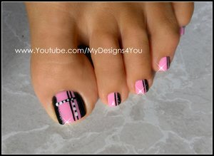 Quick Toenail Design | Pink and Black Pedicure