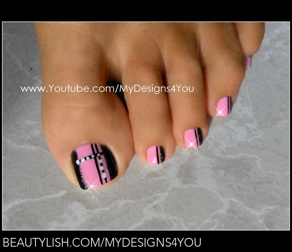 Quick Toenail Design Pink And Black Pedicure Liudmila Z S Mydesigns4you Photo Beautylish,Meaningful Stencil Tribal Sleeve Tattoo Designs