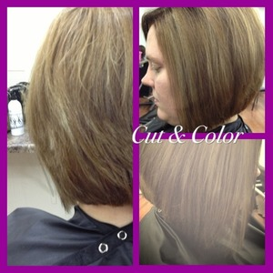 Came in with hair way past her shoulders. Cut off the pony, HL/LL, and then gave her a classic bob that shaped amazingly with her face structure!