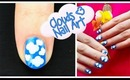 Clouds Nail Art. Cartoon Fluffy Clouds in Sunny Sky Nail Design for Beginners - Dotting Tool Only
