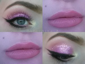 """The glitter is by NYX """"Glitter on the go"""" in the shade """"Jelly"""".  The lashes are the 747 L lashes by Kara.  The liner is the MAC Fluidline gel liner in the shade """"Blacktrack""""(I'm hating this product more for every day that goes by..)  + Black eyeshadow   The inner corner highlight is from the Sleek """"Lagoon"""" palette and is called """"Sand Dollar"""".    On the lips I'm wearing a lipliner by L.A Colors called """"Natural"""" + a nude lip colour from the Coastal Scents 32 lip palette    On the brows I am wearing NYX's eyebrow gel in the shade """"Blonde""""."""