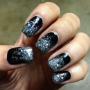 Blk & Silver ombre nails