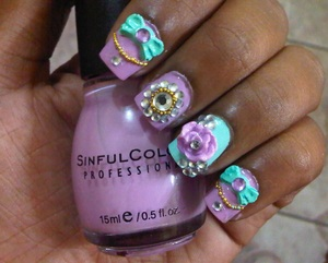 I love the Japanese trend of Hime Gyaru nails. Here's my attempt using my favorite colors for Spring! See how I got these nails here http://blushhappy.blogspot.com/2012/04/manicure-of-moment-hime-gyaru-inspired.html