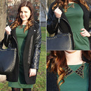 Zippered Black Panel Woolen Coat