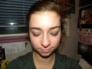 Layered blue eyeshadow over black eyeliner, turned out alright!
