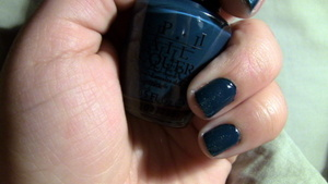 Nails: OPI Nail Polish in Ski Teal We Drop, with the tips sponged with Orly Nail Polish in Halley's Comet