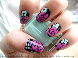 stencil-like roses and leaves.