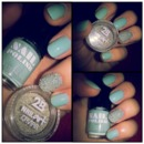 Silver caviar & mint/turquoise nails ??