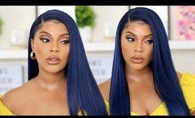 MIDNIGHT BLUE HAIR TUTORIAL| WIG APPLICATION