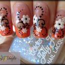 Orange french manicure & spring flowers