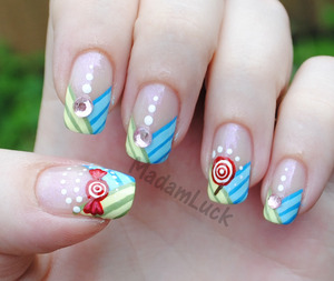 Candy Striped Nail Art