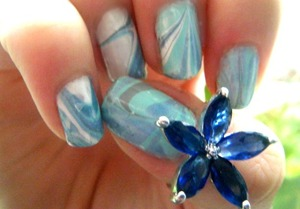 my first go at water marbling :3