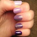 Purple ombré, gradient glitter party nail