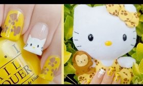 Hello Kitty Safari Plushie Nail Art