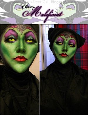 I did my take on the Disney's Maleficent.  I wanted to keep to the main character, but put my own twists to it. Sadly, I didn't own horns...so I had to make due with a black stripey shirt. Haha.
