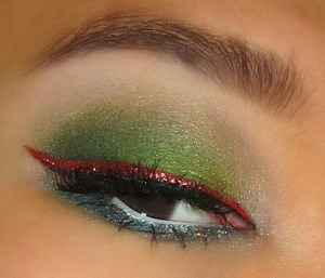 green with red glittery liner!