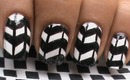 Black And White Nail Art - Handpainted Nails Tutorial in Chevron Jonqal Pattern Nail Polish Design