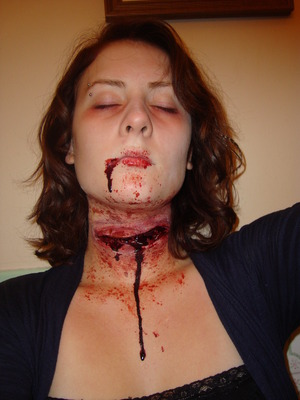 - slit throat prosthetic piece, liquid latex, (not enough spirit gum) some concealer/foundation/powder, injury pack, and blood thick and thin.