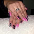 Pink, Black And Silver White Nails