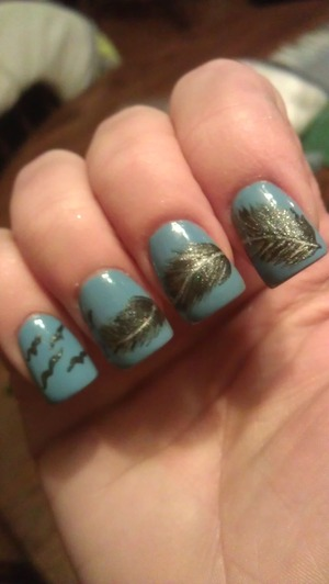 acrylic nails..always wanted to try the feather