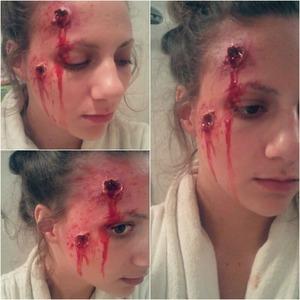 shot in the head makeup
