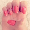 orange sparkly nails!