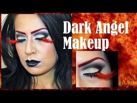 Halloween Makeup Devil And Angel.Dark Angel Devil Halloween Makeup Black And White Cut