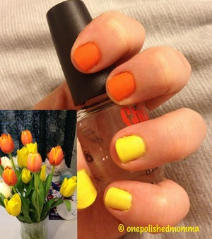 Used my orange/yellow tulips for inspiration