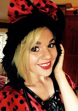 A look I pulled together for dressing as Minnie Mouse.