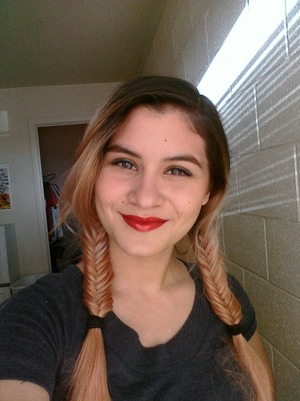 Fishtail braids, and casual/work make-up.