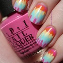 Random Rainbow Streak Nails