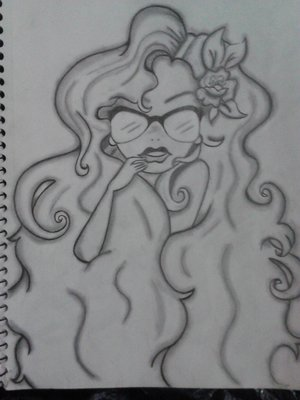 I wanted to draw a pic with a girl with lots of hair.... So I did. Love big voluminous hair. Lol.