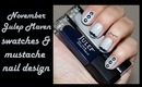 November Julep Maven Box Swatches + Movember Moustache Nails