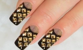 NailArt Design Tutorial - French reverse with rivets and beads in black and gold