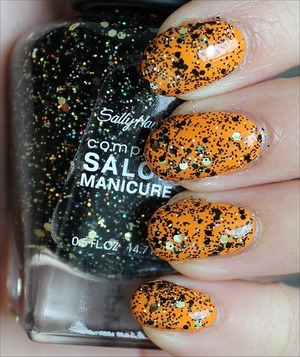 See my in-depth review & more swatches here: http://www.swatchandlearn.com/sally-hansen-midnight-glitz-swatches-review-layered-over-china-glaze-papaya-punch/