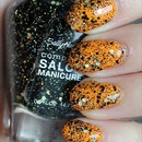 Sally Hansen Midnight Glitz (Layered Over China Glaze Papaya Punch)